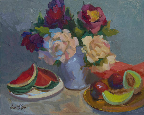 Melon Painting - A Study In Red by Diane McClary