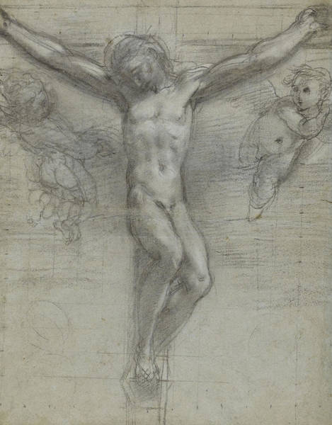 Suffering Drawing - A Study Of Christ On The Cross With Two by Federico Fiori Barocci or Baroccio