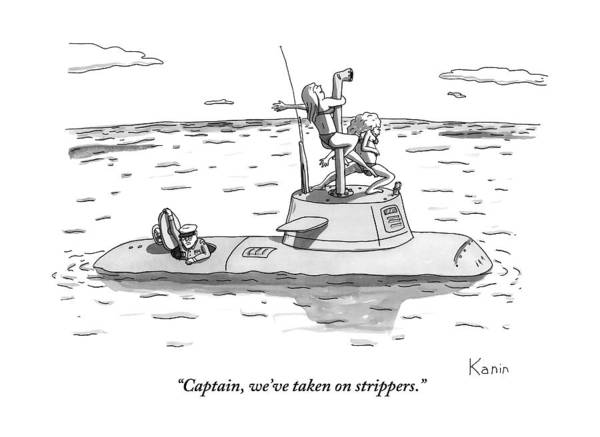 Captain Drawing - A Submarine Crewman Is Seen Speaking In Reference by Zachary Kanin