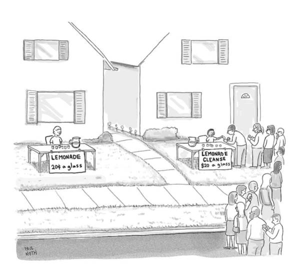 Organic Drawing - A Suburban Lemonade Stand Attracts No Business by Paul Noth