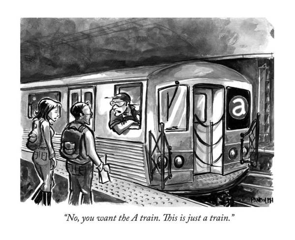 Train Drawing - A Subway Conductor Drives A Train Marked by Corey Pandolph