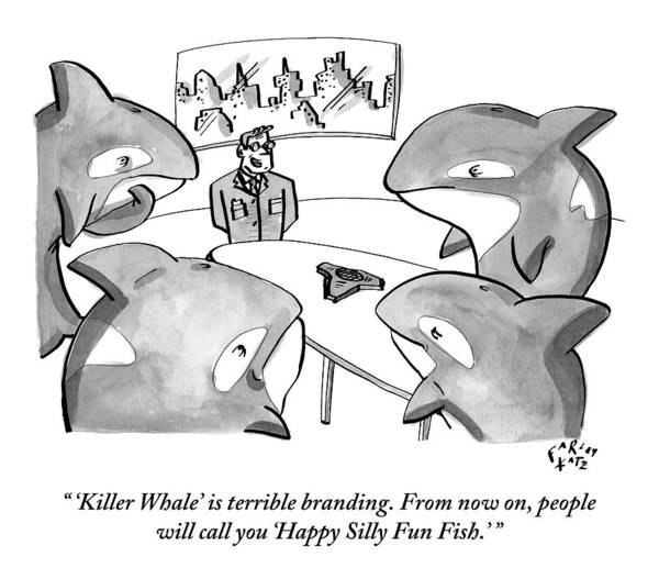 Fish Drawing - A Suited Man Speaks To A Group Of Killer Whales by Farley Katz
