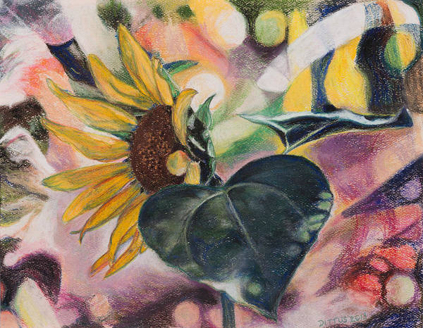 Wall Art - Painting - A Sunflower's Heart by Chrissey Dittus