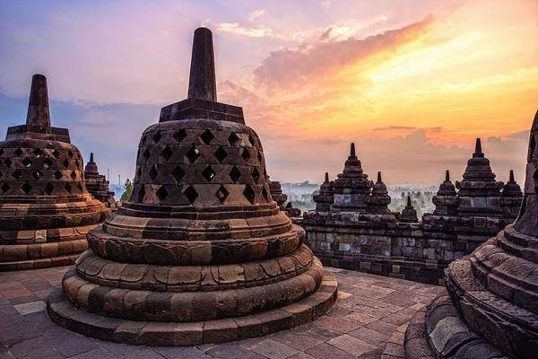 Indonesian Culture Photograph - A Sunrise At The Borobudur Temple by Thomas Müller Www.rotweiss.tv