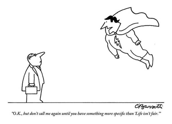 Superhero Drawing - A Superhero Hovers In Front Of A Normal-looking by Charles Barsotti