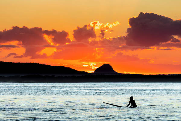 Noosa Wall Art - Photograph - A Surfer Waits For A Wave At Sunset by Andrew Peacock