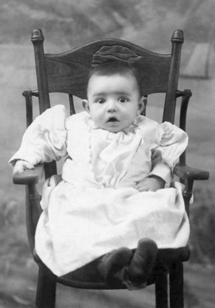 Virtue Photograph - A Surprised Baby Portrait by Underwood Archives
