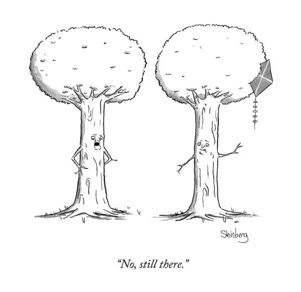 Hair Drawing - A Talking Tree Says To Another by Avi Steinberg