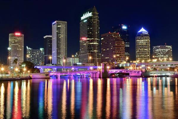 Municipality Photograph - A Tampa Bay Night by Frozen in Time Fine Art Photography