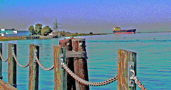 Digital Art - A Tanker Below The Antioch Bridge by Joseph Coulombe