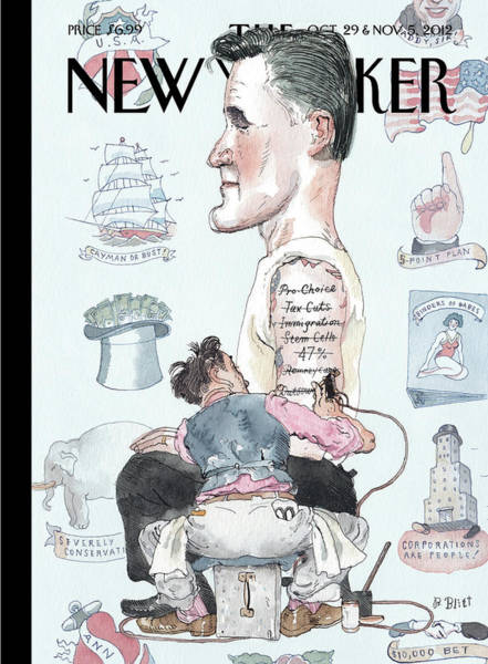 Romney Painting - A Tattoo Artist Performs On A Presidential by Barry Blitt
