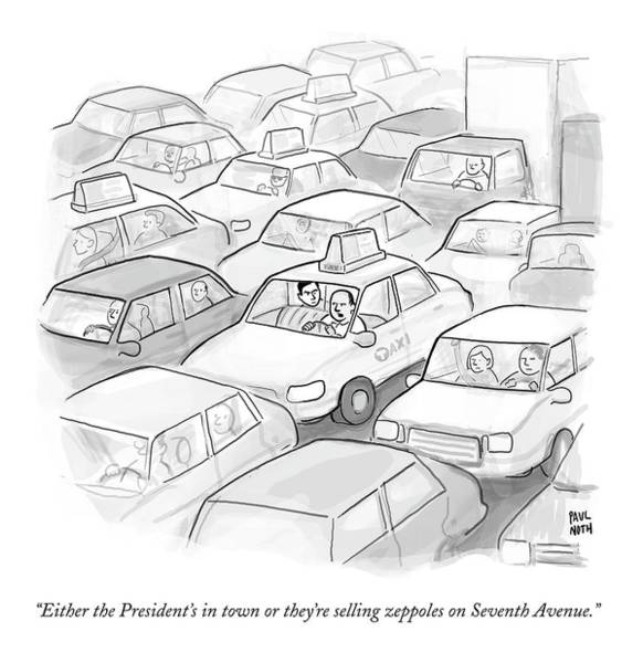 President Drawing - A Taxi Driver Speaks To His Passenger by Paul Noth