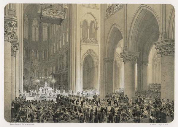 Notre Dame Drawing - A Te Deum Is Sung In Notre  Dame by Mary Evans Picture Library