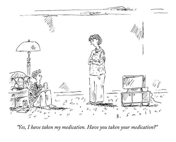 Medication Drawing - A Teenage Son Talks Back To His Mother by Barbara Smaller