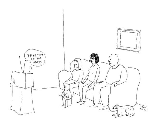 Couch Potato Drawing - A Television Set Thinks There They All by Liana Finck