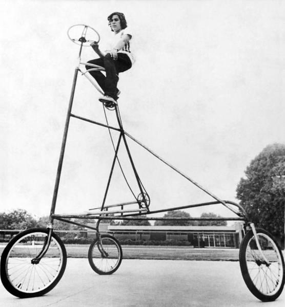 Riverside California Photograph - A Ten Foot Tall Tricycle by Underwood Archives