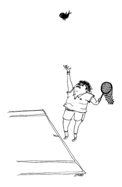 Sports Drawing - A Tennis Player Holds A Fishing Net Instead by Edward Steed