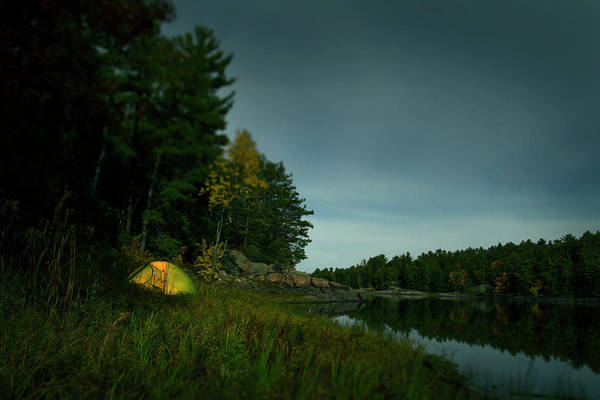 James River Photograph - A Tent Illuminated Near The French by James Davis