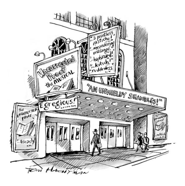 Theater Drawing - A Theater Marquee Advertises A Show Called by Tom Hachtman