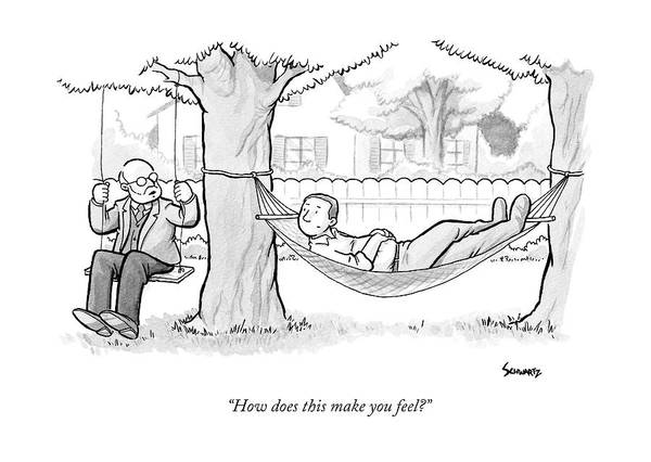 Therapist Drawing - A Therapist Sits On A Swing Behind And Addresses by Benjamin Schwartz