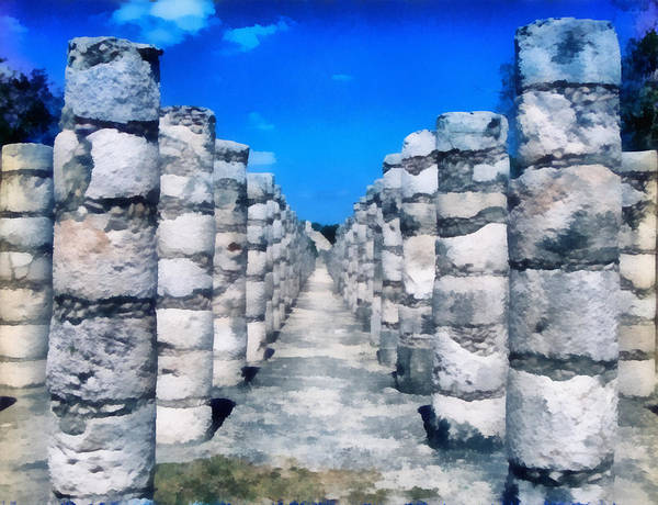 Chichen Digital Art - A Thousand Columns by Roy Pedersen