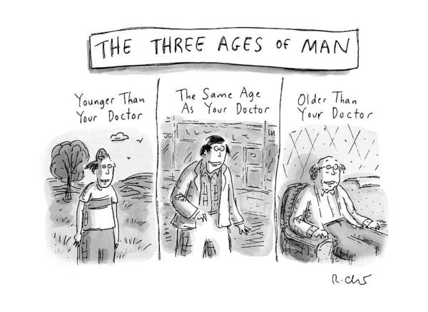 Doctor Drawing - A Three Panel Images That Have Three Men: by Roz Chast