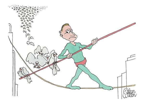 A Tightrope Walker Is Seen Walking Across A Line Art Print