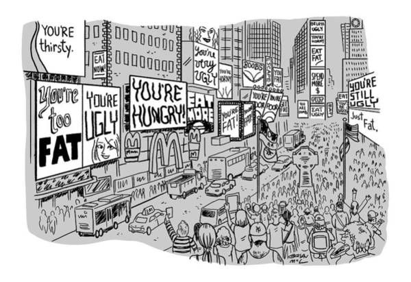Drawing - A Times Square-like Streetscape Displays Dozens by Brian Mclachlan