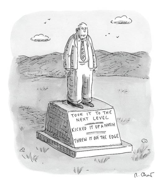 Edge Drawing - A Tombstone For A Man Who Brought It To The Next by Roz Chast