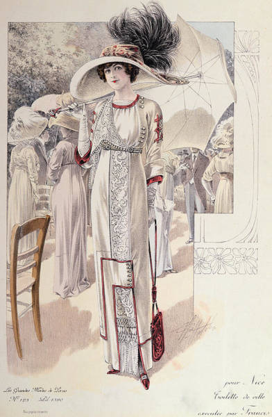 Fashion Plate Painting - A Town Dress by French School