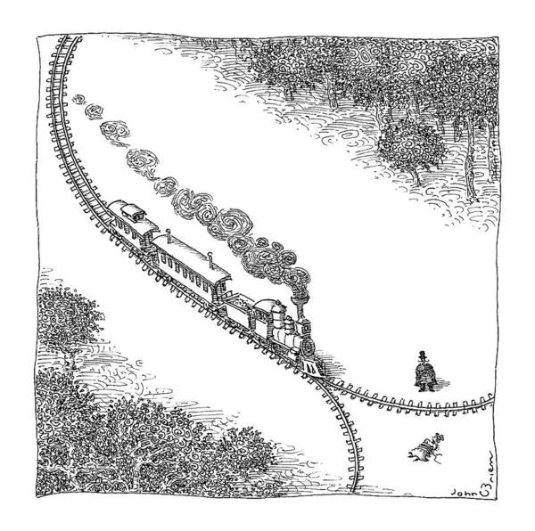 Train Drawing - A Train Heads Toward A Tied Up Victim Traveling by John O'Brien