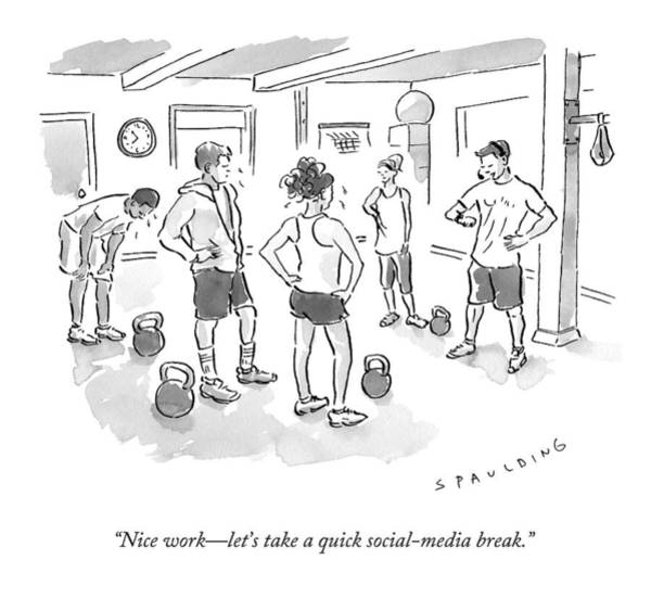 Social Media Drawing - A Trainer At A Gym Talking To A Small Group by Trevor Spaulding