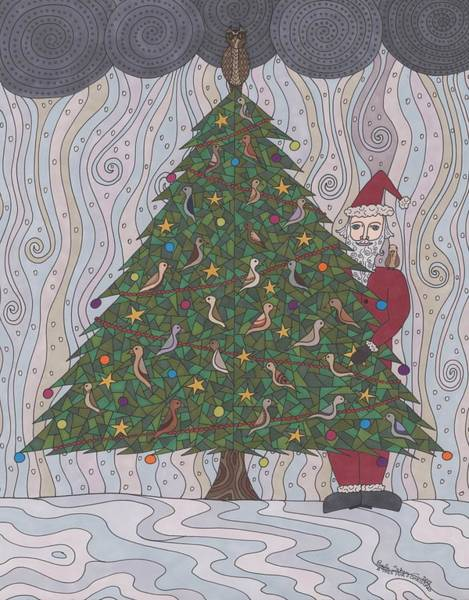 Evergreen Trees Drawing - A  Tree For Christmas by Pamela Schiermeyer