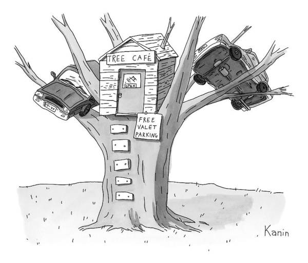Cafe Drawing - A Tree House With The Sign 'tree Cafe' Is Seen by Zachary Kanin