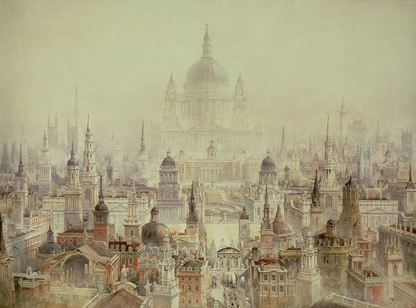 Church Spire Wall Art - Painting - A Tribute To Sir Christopher Wren by Charles Robert Cockerell