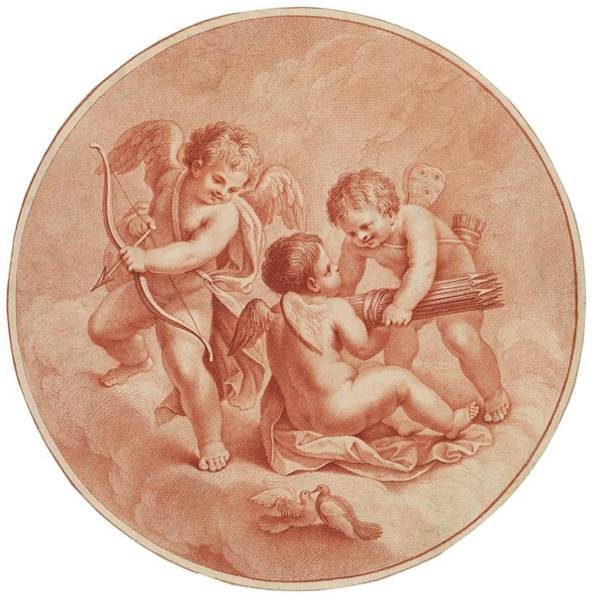 Trio Drawing - A Trio Of Cherubs Cupids  Prepare To Go by Mary Evans Picture Library