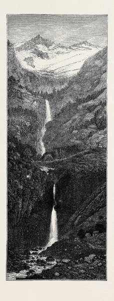 Wall Art - Drawing - A Trip To The Pyrenees Cascade Et Gouffre Denfer by English School