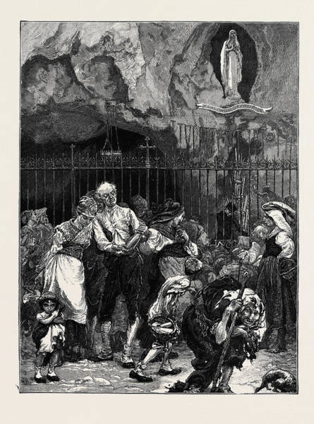Wall Art - Drawing - A Trip To The Pyrenees Pilgrims At The Grotto Of Lourdes by English School
