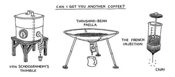 Coffee Drawing - A Triptych Of Eccentric Coffee Devices by Tom Chitty