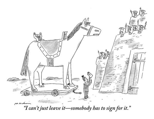 Castle Drawing - A Trojan Horse Is Delivered To A Guarded Castle by Michael Maslin