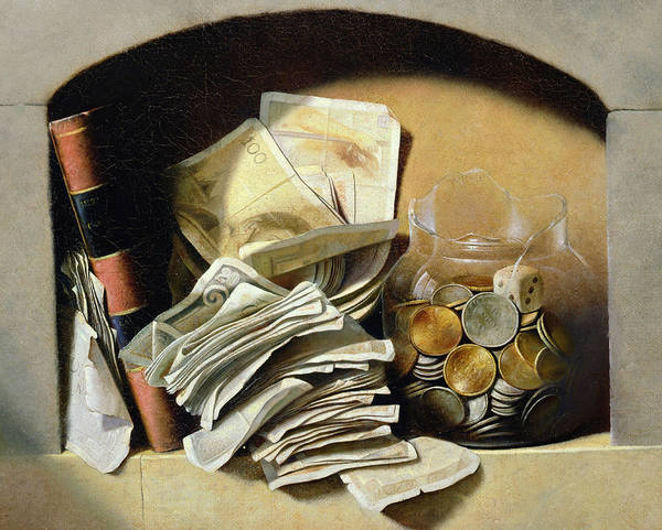 Saving Painting - A Trompe Loeil Of Paper Money Coins by French School