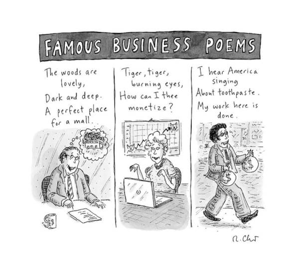 Money Drawing - A Tryptich Of Poems About Business And Money by Roz Chast