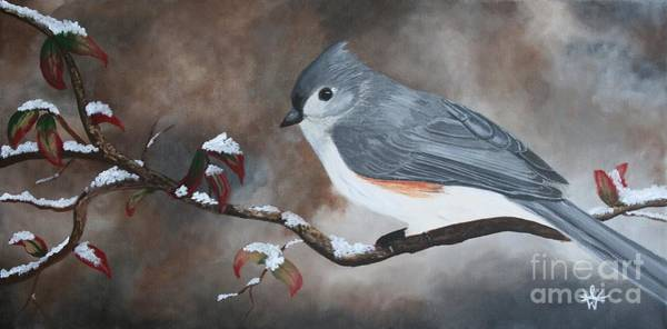 Titmouse Painting - A Tuft Winter by Ambre Wallitsch