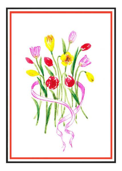 Painting - A Tulip Bunch by Irina Sztukowski