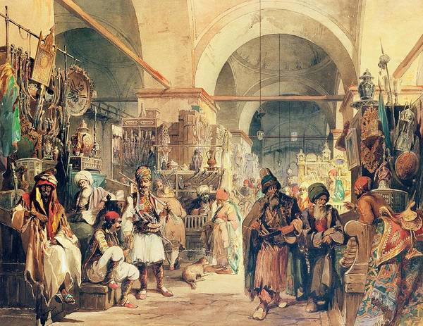 Trader Painting - A Turkish Bazaar by Amadeo Preziosi