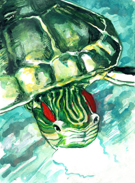 Painting - A Turtle Who Likes To Eat Fish by Rene Capone