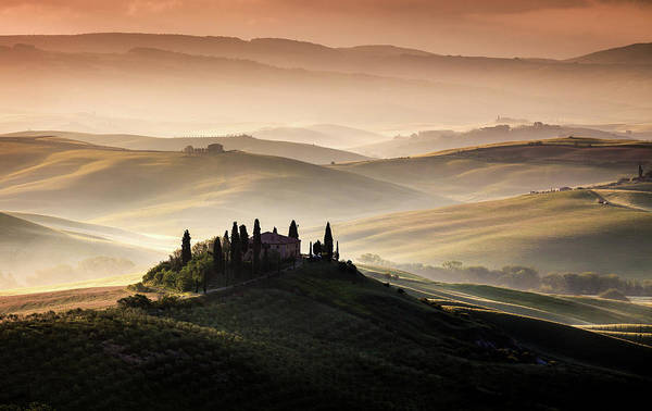 Foggy Wall Art - Photograph - A Tuscan Country Landscape by Sus Bogaerts