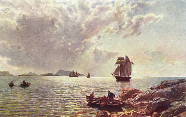 Fjord Drawing - A Two-master Sails Up A  Norwegian by Mary Evans Picture Library