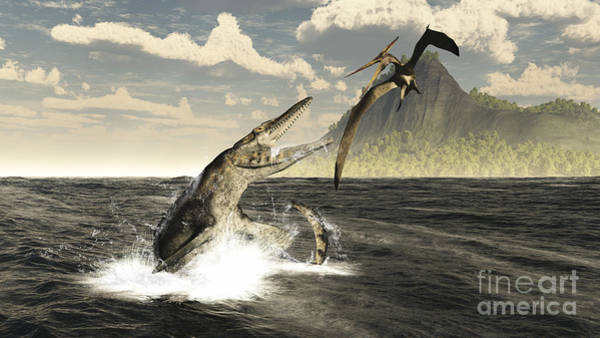 Confrontation Wall Art - Digital Art - A Tylosaurus Jumps Out Of The Water by Arthur Dorety