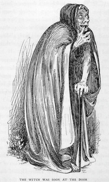 Black Magic Drawing - A Typical 'old Hag' - Old  Women Such by Mary Evans Picture Library